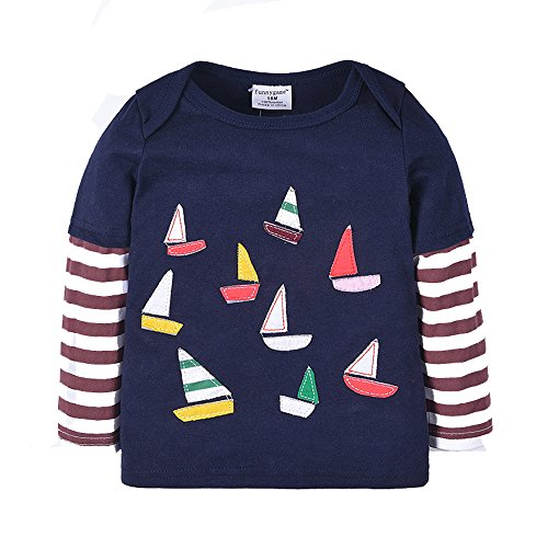 Uudora Baby Boy's and Girl's Sailboat Embroidery Casual Long Sleeves T-Shirts 1-6Y