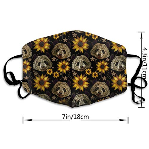 Dust Mouth Mask Panda Head Sunflowers Pattern - Reusable Face Mask Adjustable Earloop Anti-Dust Mask