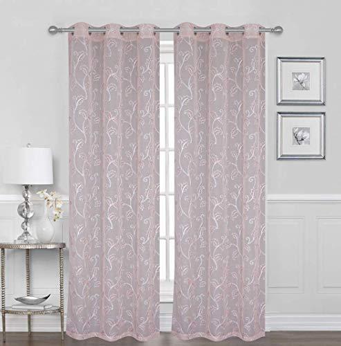 Sapphire Home 2 Panels Grommet Window Snow Voile Curtains 38