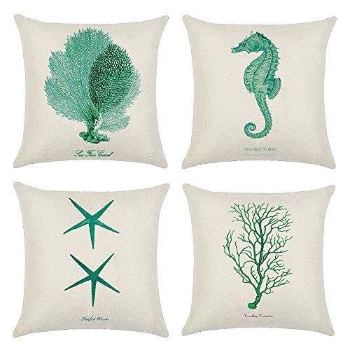(DUSEN Decorative Cotton Linen Set of 4 Throw Pillow Cushion Covers 18 x 18 inch for Sofa, Bench, Bed, Auto Seat (Starfish Seahorse Seagrass Coral Pattern))