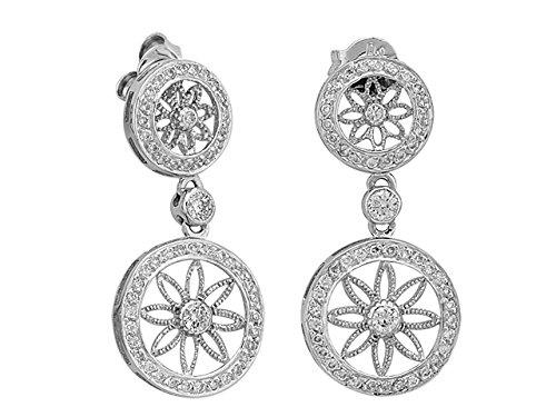 Birgie Diamants et Bijoux -Boucles d'Oreilles Diamants-Femme- or Blanc 204E0009