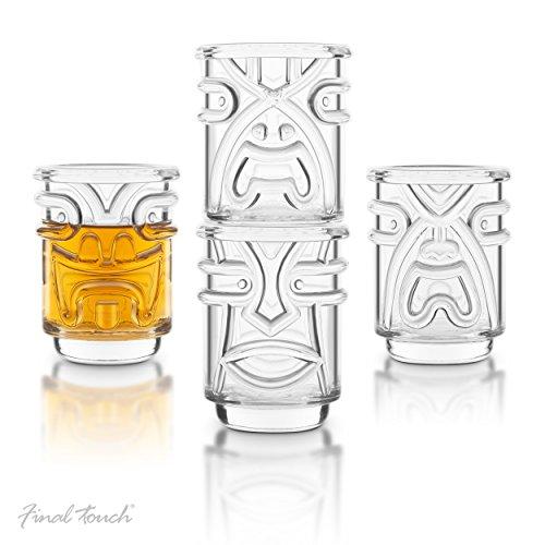 Final Touch Clear 4 Piece Tiki Shot Glass - Hawaiian Tiki Glass Shot