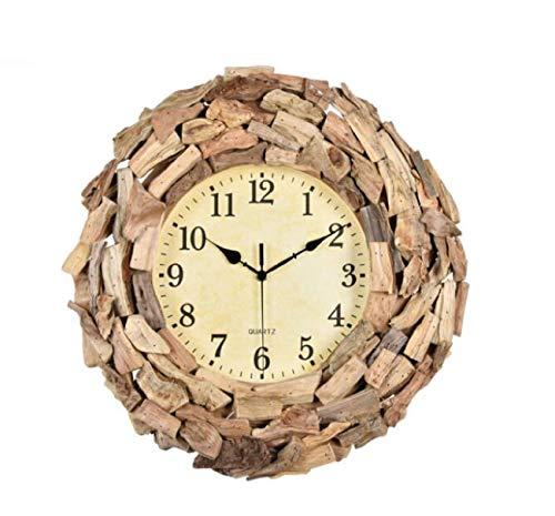 Modern trend living room mute wall clock European round creative clock art solid wood mosaic wall clock quartz clock Creative garden wall clock Fashion personality solid wood mosaic clock quartz clock