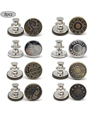 8 PCS Instant Buttons Jean Buttons Removable Button No Sew Buttons for Pants Jeans Sewing Crafts DIY Clothes (17mm) Adjustable Jeans Button Instant