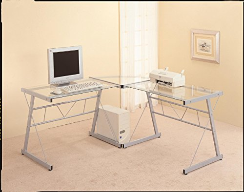 Monarch Specialties L-Shaped Computer Desk with Tempered Glass, Black Metal Monarch Specialties
