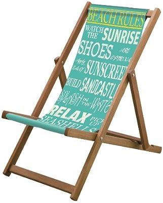 Sedia Sdraio In Inglese.Lazy Days Sedia A Sdraio Con Regole Della Spiaggia Scritte In