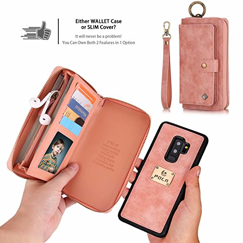 Galaxy S9 Plus Wallet Phone Case,GX-LV Samsung Galaxy S9 Plus Wallet Case Leather Case Cover Zipper Pouch with 14 Card Holder,Magnetic Detachable Case For Samsung Galaxy S9 Plus (Pink) by GX-LV (Image #2)