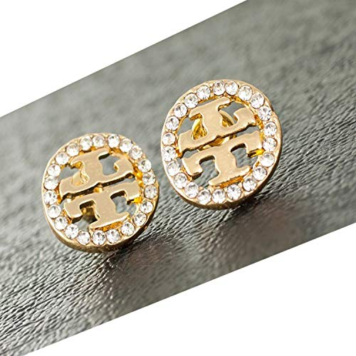 - tianshiya Women's Fashion Earrings Double T Designed Ear Stud with Multi-Options (Round Crystal)