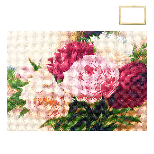 - ufengke Wooden Frame Peony Flower 5D Diamond Painting Kits DIY Full Drill Diamond Embroidery Cross Stitch Sets for Beginners Craft Lovers