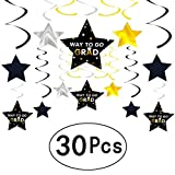 Graduation Party Hanging Swirls Decorations Black and Gold Stars Way to Go GRAD Ceiling Hangings Garlands CONGRATS GRAD Party Whirls with Hanging Cutouts Decorations, 30Ct
