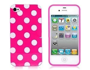 Puntos TPU patrón de diseño de protección para el iPhone 4 y 4S (Rosa)