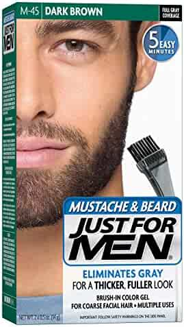 Just For Men Mustache and Beard Brush-In Color Gel, Dark Brown (Pack of 3)