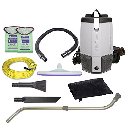 ProTeam Vacuum Backpack, ProVac FS 6 Commercial Backpack Vacuum Cleaner with HEPA Media Filtration and Small Business Kit, 6 Quart, Corded from ProTeam