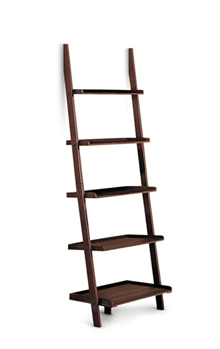 Poundex 5 Tier Leaning Wall Shelf Cappuccino