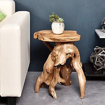 """WELLAND Tree Stump Side Table, Live Edge Stool, 20"""" Tall"""