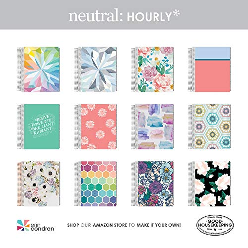 Erin Condren 18 - Month 2019-2020 Coiled Life Planner 7x9 (July 2019 - December 2020) - Daisies (Salmon & Cherry Blossom), Hourly (Neutral Layout)
