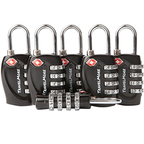 6 Pack TSA Approved Luggage Locks for Travel Safety, Small 4 Digit Combination Padlocks for Suitcases, Lockers & Bags …