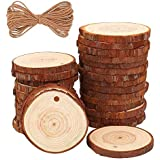 """Unfinished Natural Wood Slices 20Pcs 2.75""""-3.14"""" inch with Tree Bark Circles Log Discs for DIY Crafts Christmas Rustic Wedding Ornaments"""