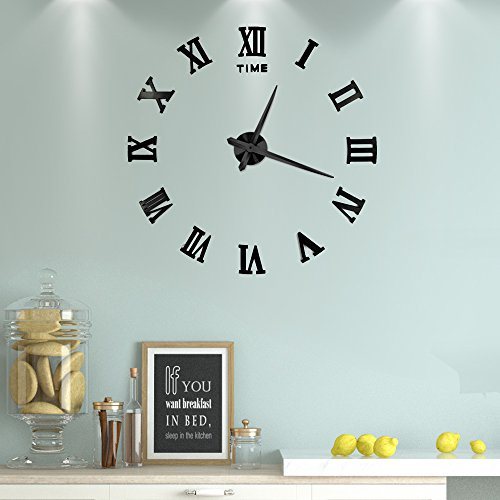 Vangold Large 3D DIY Wall Clock, 2-Year Warranty Roman Numerals Clock Frameless Mirror Surface Wall Sticker Home Décor for Living Room (Diy Wall Decals)