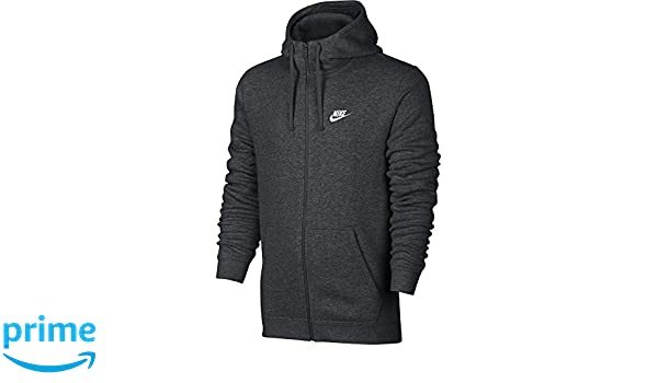 Amazon.com: NIKE Sportswear Mens Full Zip Club Hoodie, Charcoal Heather/Charcoal Heather/White, X-Small: Sports & Outdoors