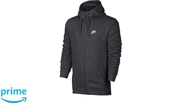 Amazon.com: NIKE Sportswear Mens Full Zip Club Hoodie, Charcoal Heather/Charcoal Heather/White, X-Small: Sports & Outdoors