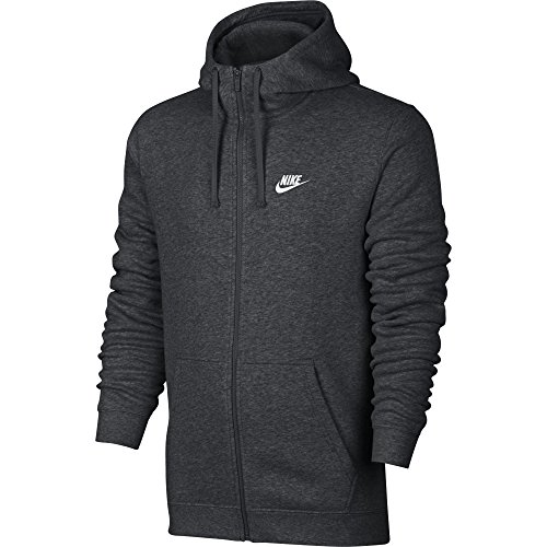 NIKE Sportswear Mens Full Zip Club Hoodie, Charcoal Heather/Charcoal Heather/White, Large