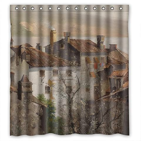 MaSoyy Beautiful Scenery Landscape Painting Polyester Bathroom Curtains Width X Height / 66 X 72 Inches / W H 168 By 180 Cm For Him Couples Kids Boys Gf Father. Home Fashion. Fabric (The Nanny With The Skull)