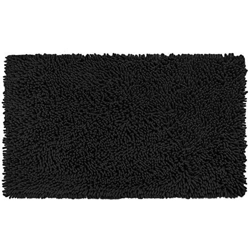 Vdomus Soft Microfiber Shag Bath Rug Extra Absorbent and Comfortable Anti-Slip Machine-Washable Large Bathroom Mat (20x32 Inch, Black)