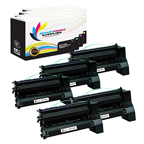 (Smart Print Supplies Compatible C770 C772 Extra High Yield Toner Cartridge Replacement for Lexmark C780 C782 X780 X782 Printers (Black, Cyan, Magenta, Yellow) - 5 Pack)