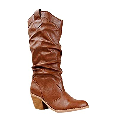 3effeae86da Qupid MUSE-01 Western Cowboy Inspired Slouchy Mid Calf Knee High Stacked  Heel Boot
