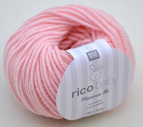 Rico Baby Merino dk 003-rosa Babywolle Merinowolle extrafine superwash Wolle zum Babysachen stricken & häkeln