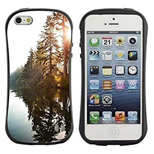 LASTONE PHONE CASE / Suave Silicona Caso Carcasa de Caucho Funda para Apple Iphone 5 / 5S / Lake Sunshine Through Trees