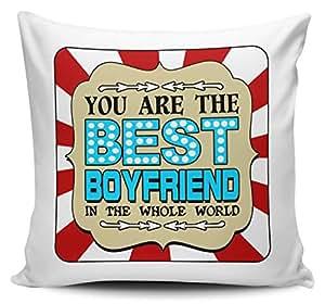 Usted es el mejor novio en el mundo entero–funda para cojín w/Insert–azul/rojo