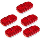 ACUMSTE 5pc Red 12V Double Bullseye Side Marker Lights 10 LED Trailer Marker Lights Bulls Tiger