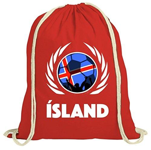 ShirtStreet Iceland Wappen Soccer Fussball WM Fanfest Gruppen Fan natur Turnbeutel Gym Bag Fußball Island Rot Natur WxTzdK