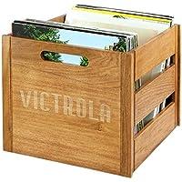 Victrola Boîte de rangement pour vinyles jusqu'à 70 albums - Bois naturel