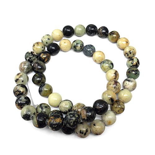 (Top Quality Natural African Yellow Turquoise Gemstone 8mm Round Loose Gems Stone Beads 15 Inch for Jewelry Craft Making GF29-8)