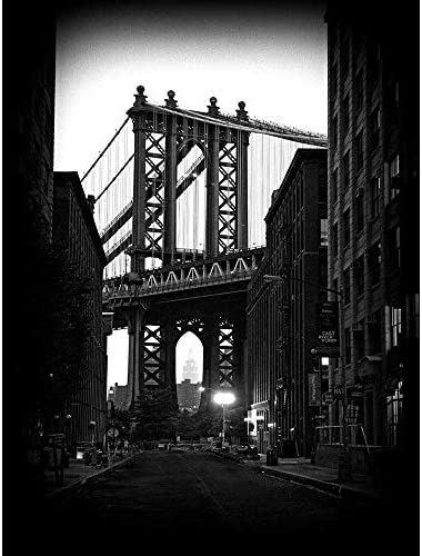 ポスター ブルックリンブリッジブラックホワイトアーキテクチャ A4サイズ [インテリア 壁紙用] 絵画 アート 壁紙ポスター