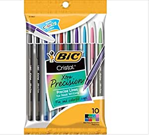 BIC Cristal Xtra Precision 0.7mm BallPen 8 Assorted Colors 10Pk for Neat Writing