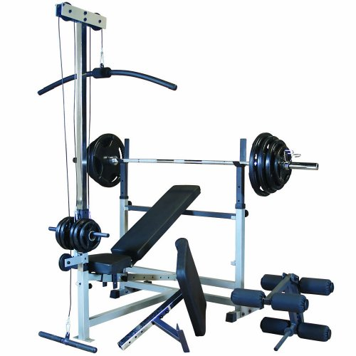 Body Solid GDIB46LP5 Combo Bench Package with Rubber Grip Weights by Body-Solid