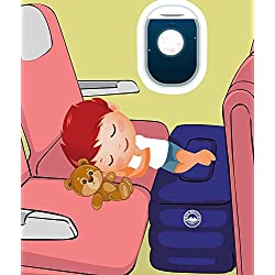 Airplane Travel Bed for Kids, Height-Adjustable Inflatable Leg Rest Pillow. Perfect as Car Seat Footrest, Leg Pillow, Travel Bed for Kid with BONUS 4PC BUNDLE - Neck Pillow, Eye Mask and Earplugs.