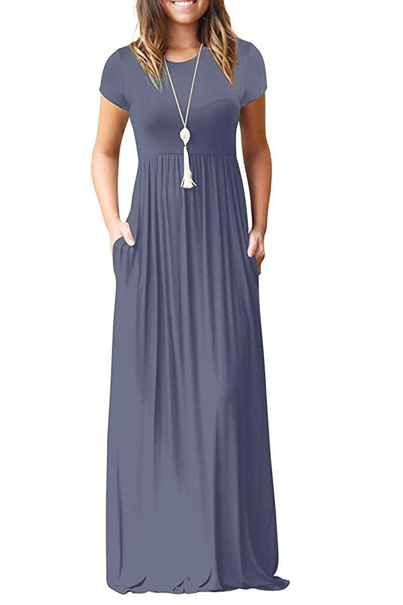 Viishow Women's Short Sleeve Loose Plain Maxi Dresses Casual Long Dresses with Pockets (XL, Purple Gray)