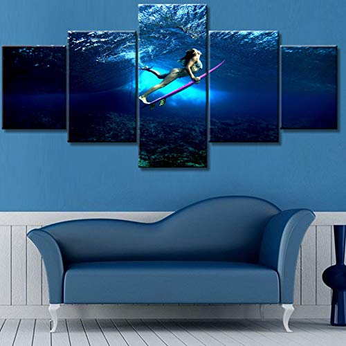 (Girl Surfing Underwater Postures Paintings for Living Room 5 Panel Canvas Wall Art Premium Quality Pictures Native Blue Artwork Modern House Decor Framed Ready to Hang Posters and Prints(50''Wx24''H))