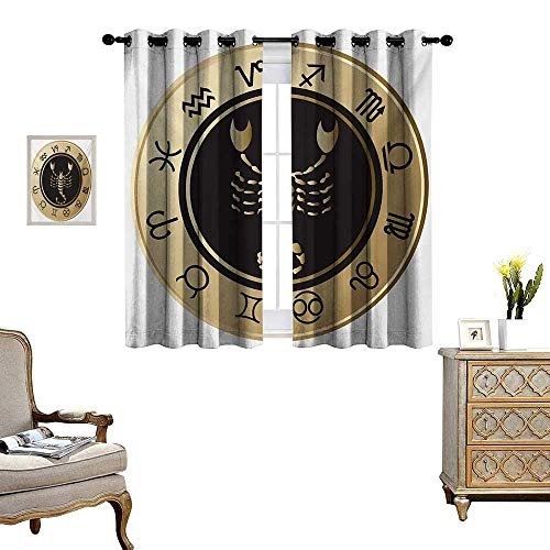 WinfreyDecor Zodiac Scorpio Thermal Insulating Blackout Curtain Twelve Signs in a Circle with Scorpion in The Middle Astrology Future Patterned Drape for Glass Door W55 x L39 Gold Black White for $<!--$32.40-->