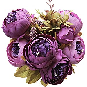 Luyue Vintage Artificial Peony Silk Flowers Bouquet Purple 69