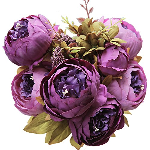 Luyue Vintage Artificial Peony Silk Flowers Bouquet Purple (Floral Peony Arrangement)