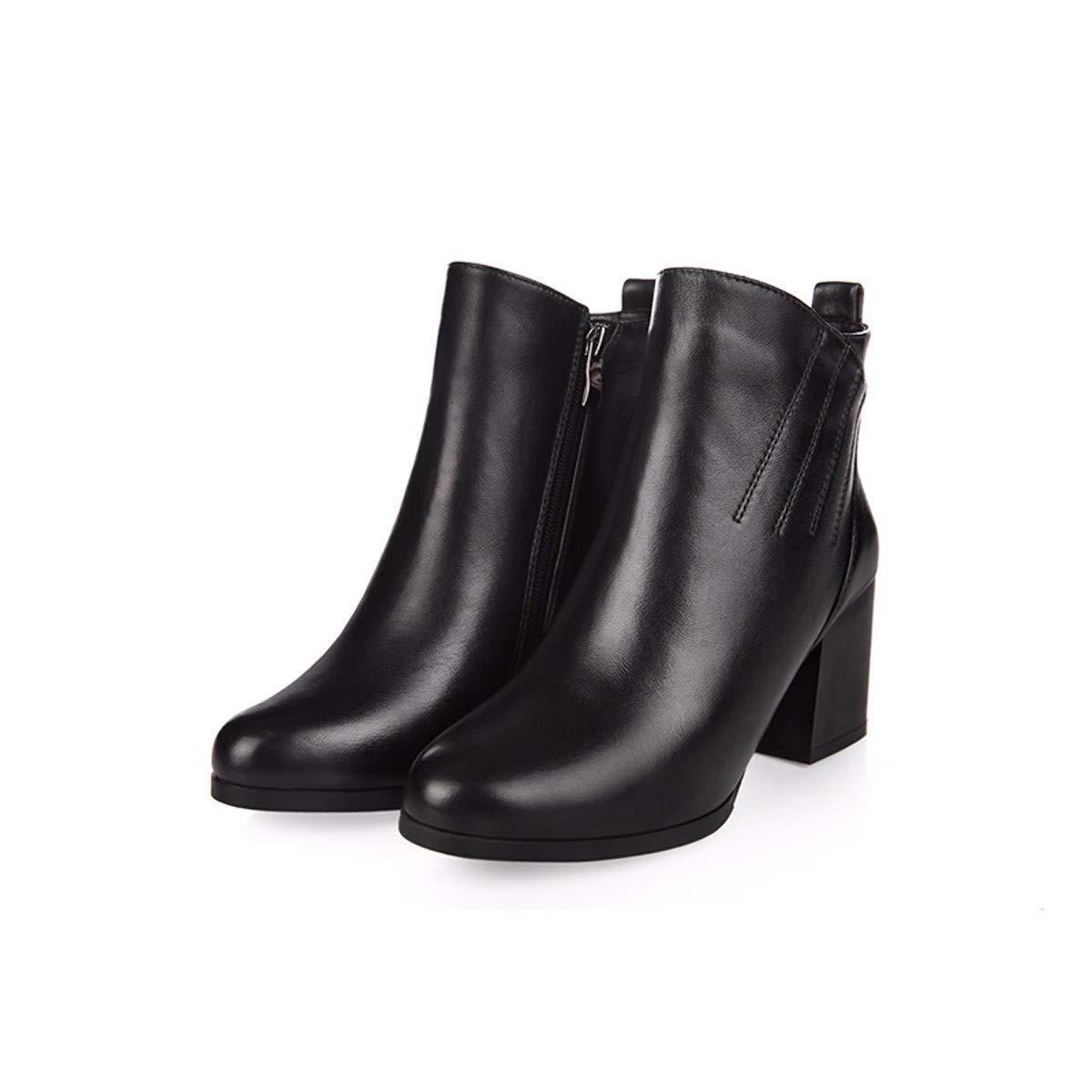HBDLH Damenschuhe Samt Kurze Stiefel Weiblich Dicke Wurzeln Nahen Heels Hochhackige 5Cm Seite Reißverschlüsse und Blanken Stiefeln Damenschuhe Martin Stiefel.