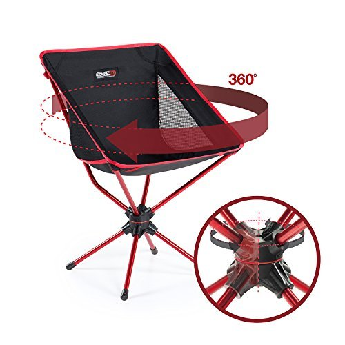 Compaclite Patented 360 Rotating Ultra-Light Duralumin Swivel Mesh Chair for Backpacking / Camping  / Hiking  / Fishing / BBQ / Beach with Carry Bag, Black (Ultralights Bars)