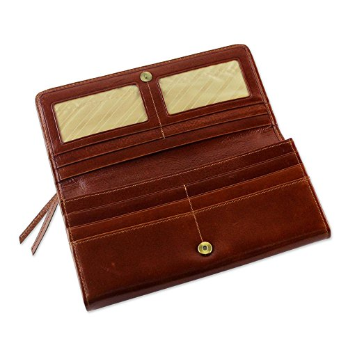 NOVICA Brown Leather Clutch, 'Touch of Love in Rust' by NOVICA (Image #2)