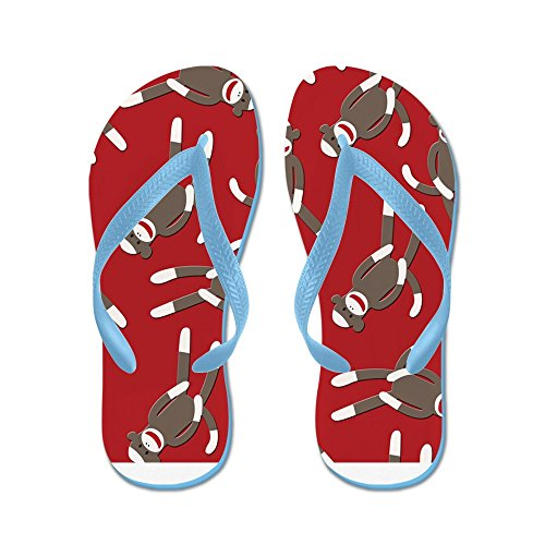 CafePress Red Sock Monkey Print - Flip Flops, Funny Thong Sandals, Beach Sandals Caribbean Blue